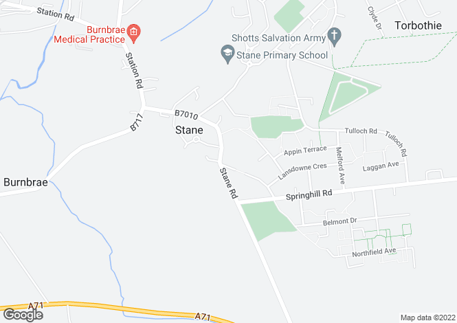Map for 17 Bridge Place <br> Shotts, Lanarkshire