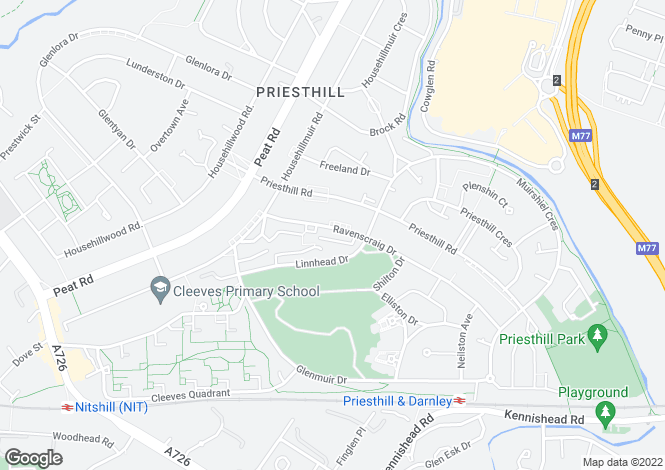 Map for Ravenscraig Drive, Priesthill, G53