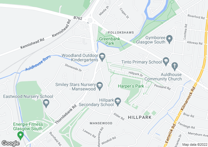 Map for Mansewood Road, Mansewood, Glasgow