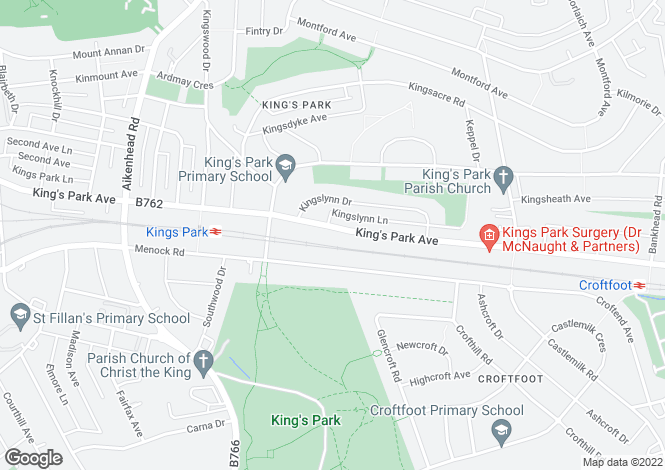 Map for 208 Kings Park Avenue, Kings Park, G44 4JF