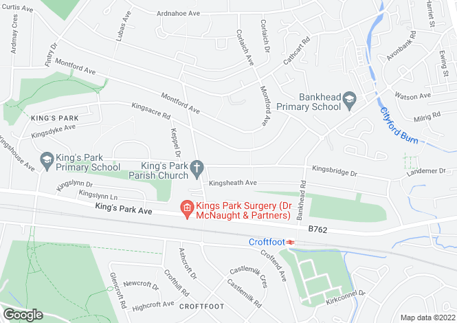 Map for Kingsbridge Drive, Rutherglen, Glasgow, South Lanarkshire