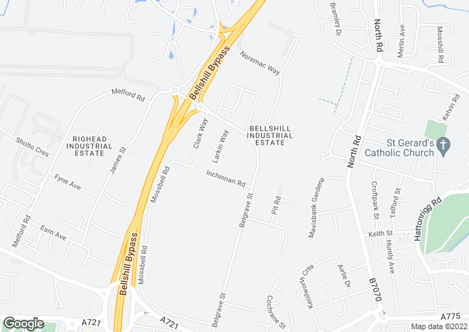 Map for Belgrave Street, Bellshill Industrial Estate Bellshill, Lanarkshire