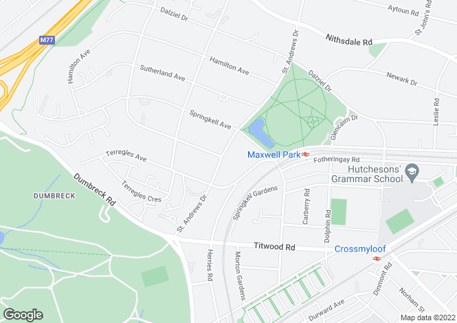 Map for 'Stron Ruan', 93 St Andrews Drive, Pollokshields, G41 4DH