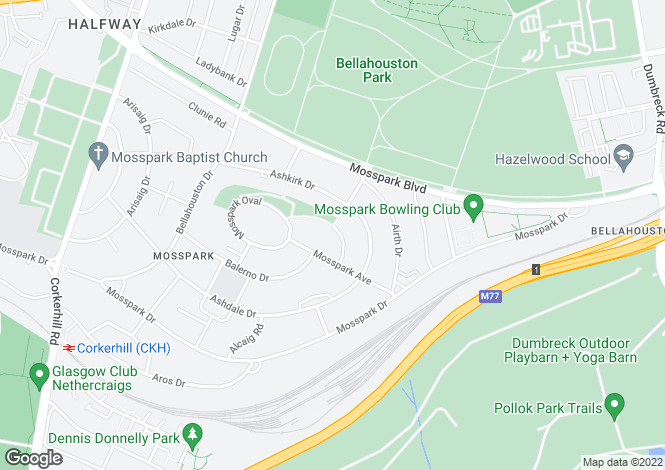 Map for Auldgirth Road, Mosspark, Glasgow