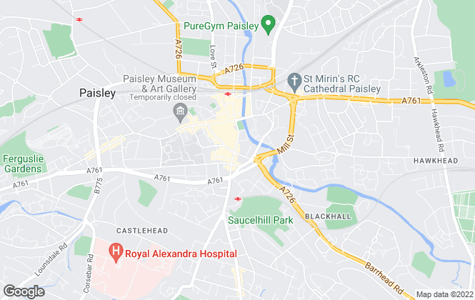 Map for Caledonia Bureau, Paisley