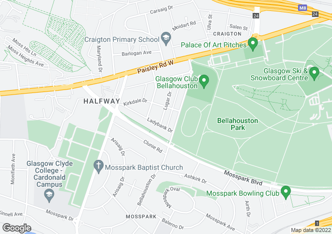 Map for Lugar Drive, Bellahouston, Glasgow