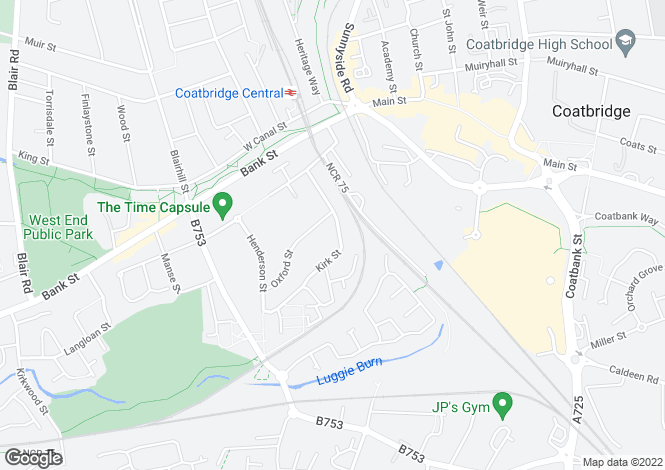 Map for Kirk Street, Coatbridge, ML5 1BP