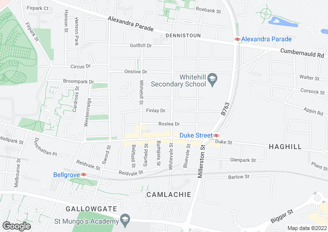Map for Finlay Drive, Dennistoun, Glasgow
