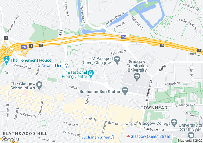 Map for Port Dundas Road, Cowcaddens, Glasgow