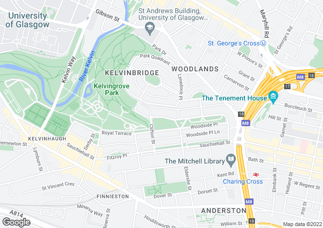 Map for 4 Claremont Terrace Flat 2/1, 'The Park', Glasgow, G3 7XR