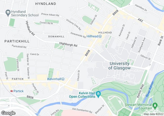 Map for Byres Road, Glasgow