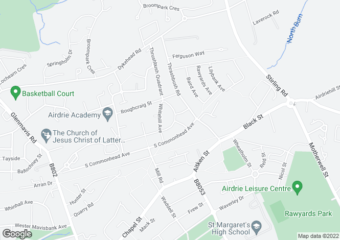 Map for Wellside Avenue, AIRDRIE, North Lanarkshire