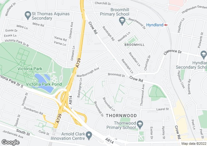 Map for Broomhill Drive, Broomhill, G11 7NA