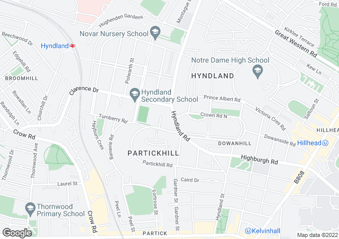Map for Hyndland Road, Glasgow