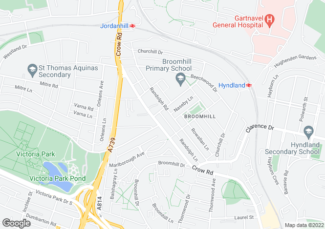Map for Woodcroft Avenue, Broomhill, G11