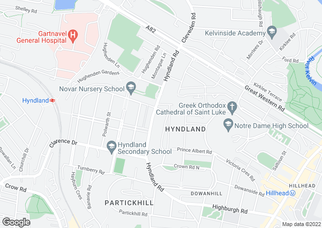 Map for 1 Kingsborough Gardens, Hyndland, G12 9QA