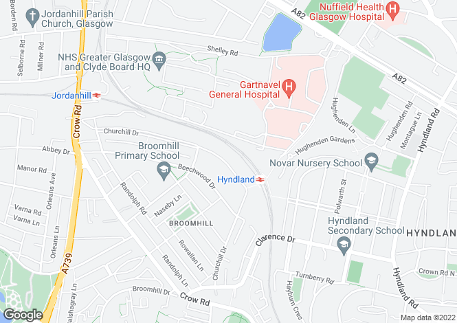 Map for 168 Churchill Drive, Broomhill, G11 7HA