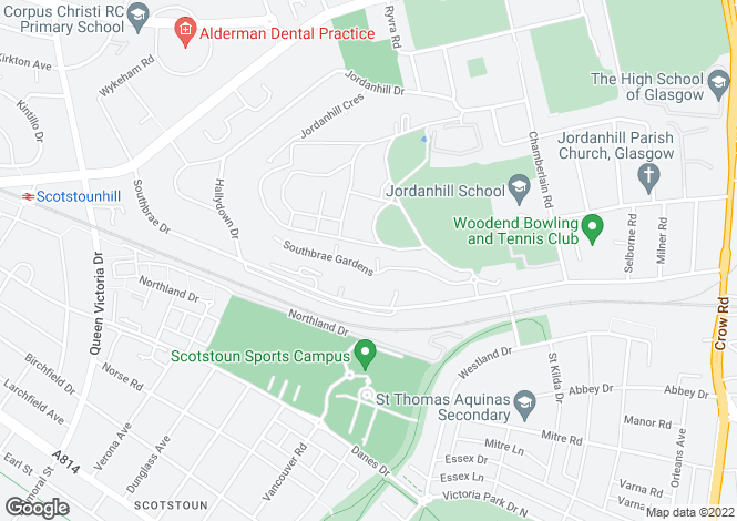 Map for 20 Southbrae Gardens, Jordanhill, G13 1UB