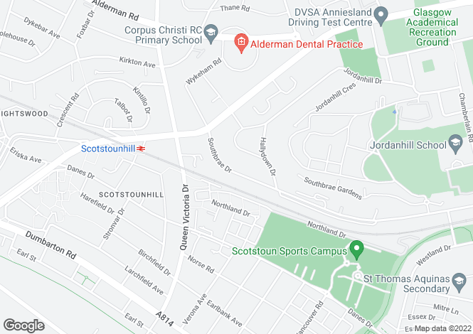 Map for 166 Southbrae Drive, Jordanhill, G13 1TX