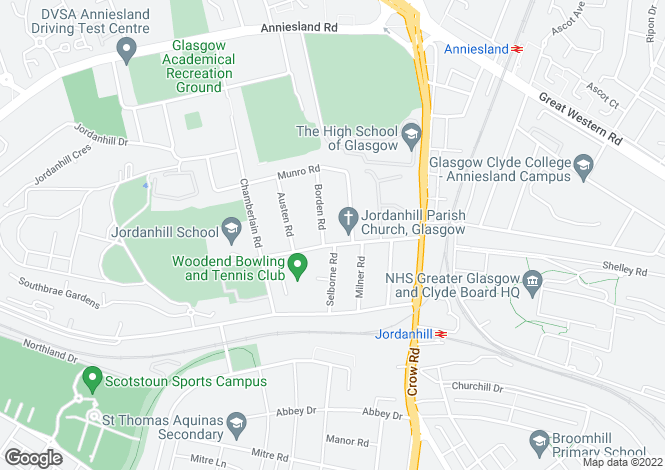 Map for Woodend Drive, Jordanhill, Glasgow