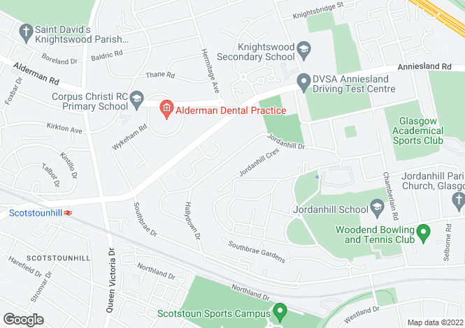 Map for 101 Jordanhill Drive, Jordanhill, G13 1UQ