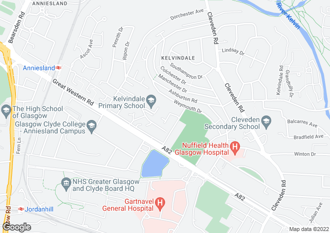 Map for Gainsborough Court, Kelvindale