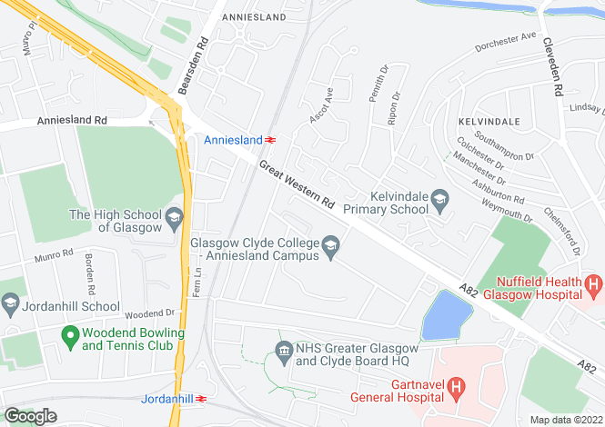 Map for Kelvin Court, Anniesland, G12 0AH