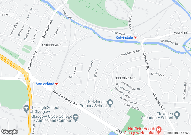 Map for Ripon Drive, Kelvindale, Glasgow