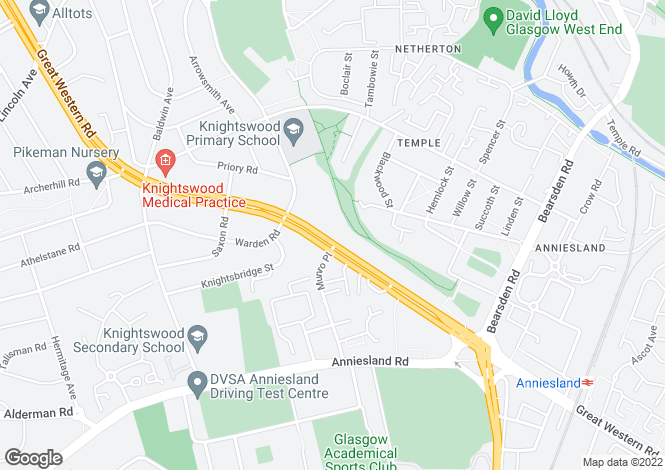 Map for Great Western Road, Anniesland, Glasgow