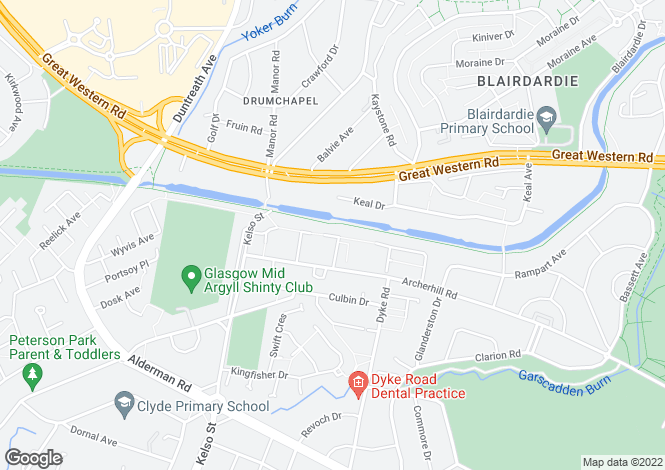 Map for Archerhill Terrace, Knightswood, Glasgow