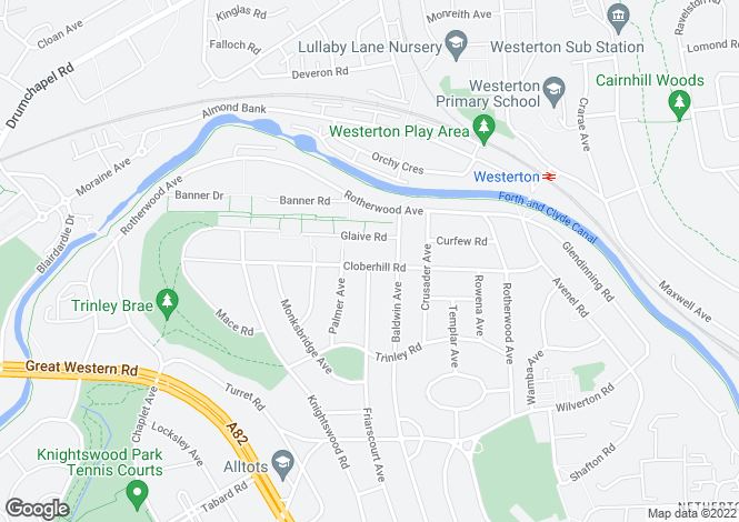 Map for 71 Cloberhill Road <br> Knightswood, Glasgow