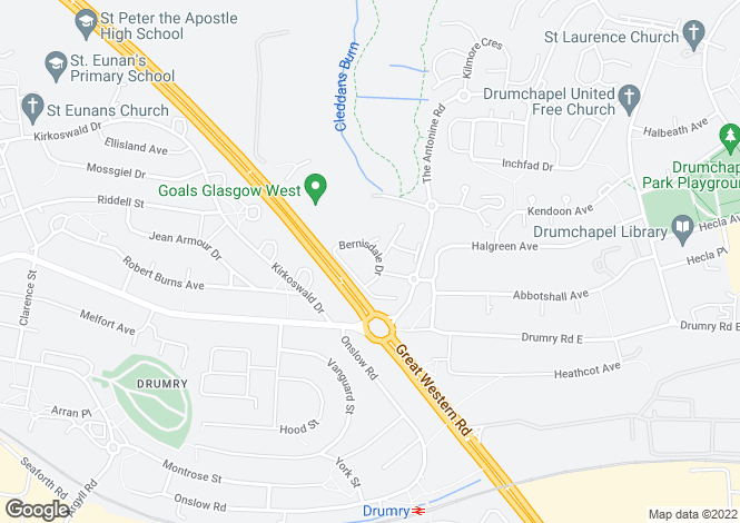 Map for Bernisdale Drive, Drumchapel, Glasgow