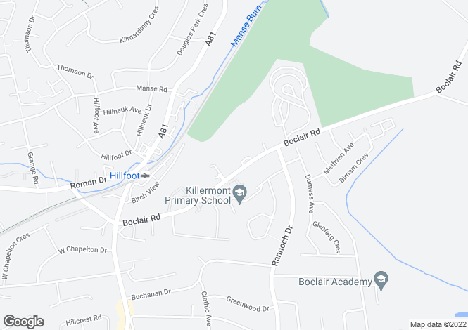 Map for 37 Boclair Road, Bearsden, Glasgow, G61 2AF