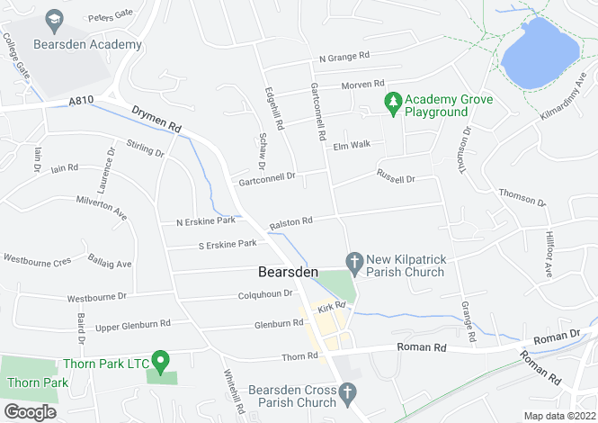 Map for Ralston Road, Bearsden