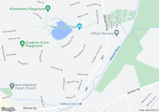 Map for Kilmardinny Crescent, Bearsden, G61 3NR