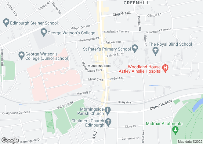 Map for Morningside Road, Morningside, Edinburgh
