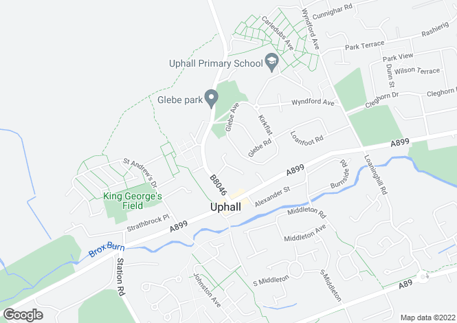 Map for 16 Howieson Green <br> Uphall, Lothian