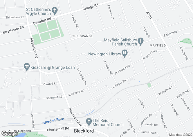 Map for 56 Fountainhall Road, Grange, Edinburgh, EH9 2LP