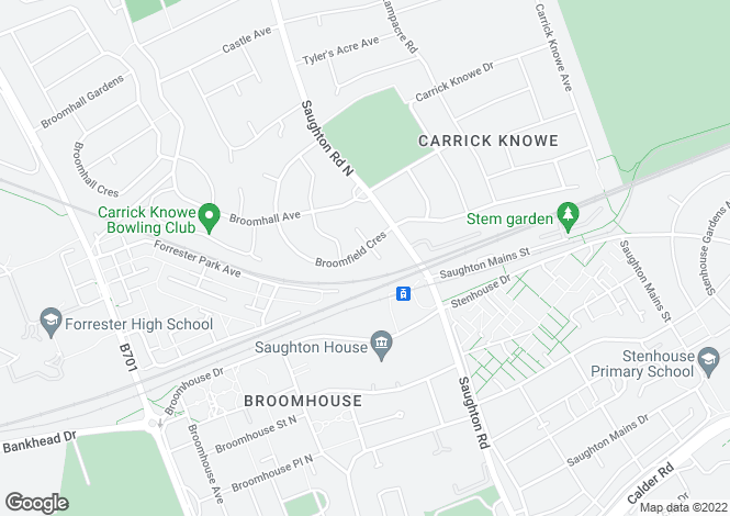 Map for Broomfield Crescent, Carrick Knowe, Edinburgh