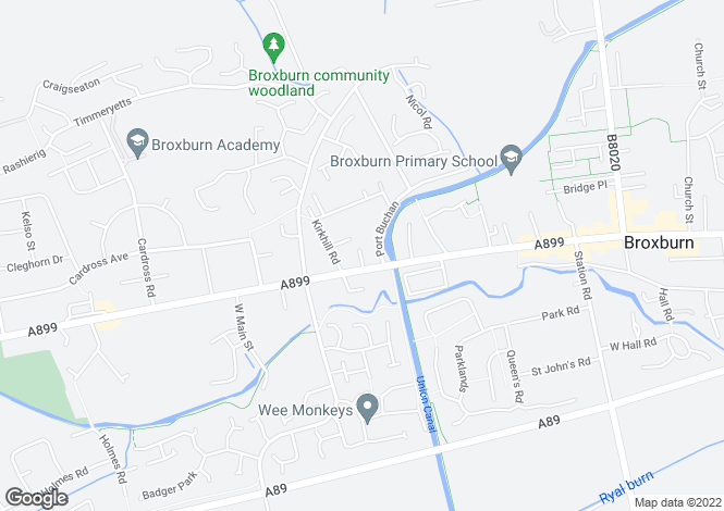 Map for Buchan Court, Broxburn, West Lothian