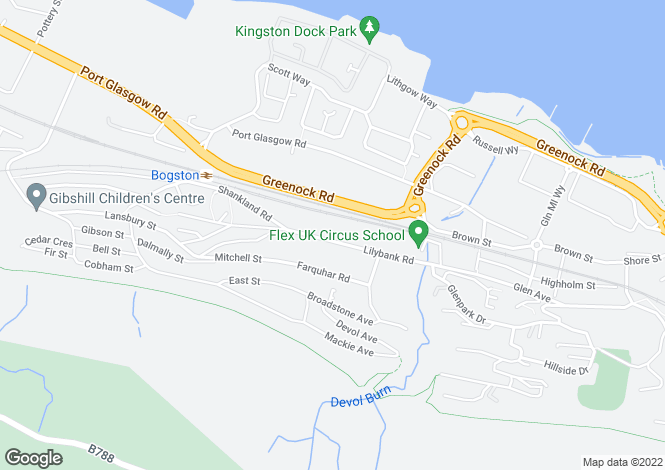 Map for 30 Lilybank Road <br> Port Glasgow, Inverclyde