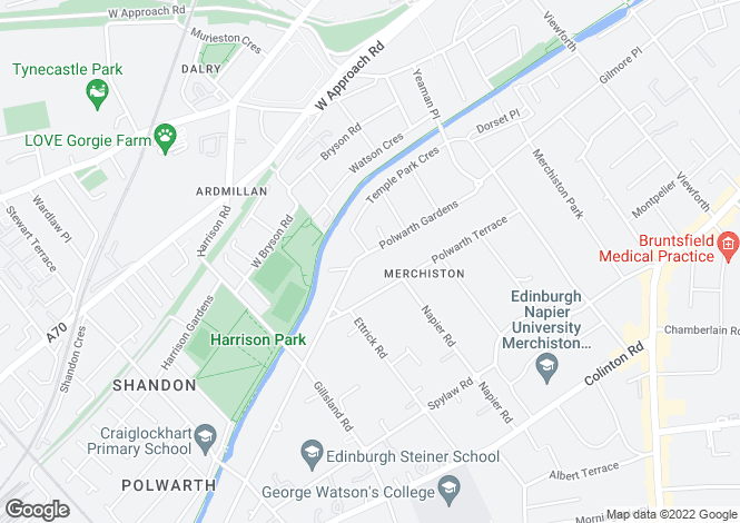 Map for Polwarth Gardens, Polwarth, Edinburgh