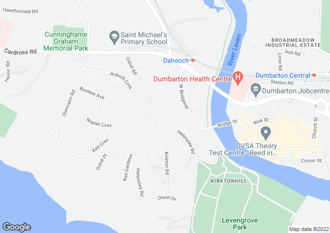 Map for 36 Helenslee Crescent, Dumbarton, G82 4HS