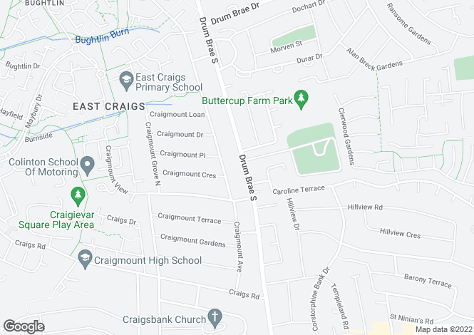 Map for 65 Drum Brae South, Corstorphine