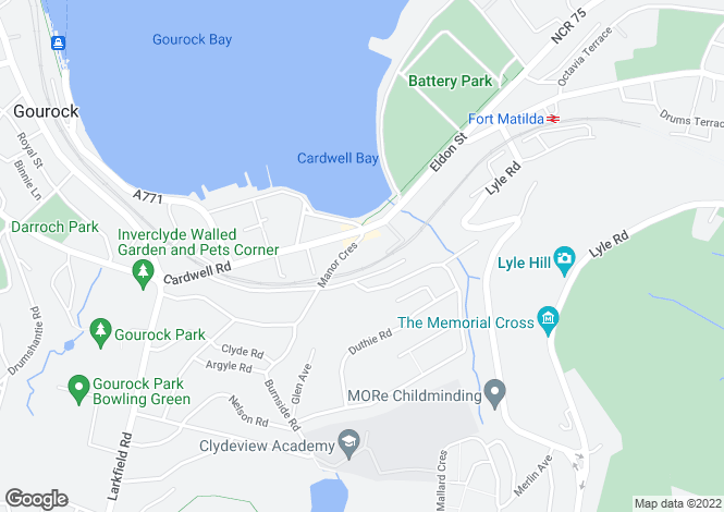 Map for Manor Crescent, Gourock, Renfrewshire