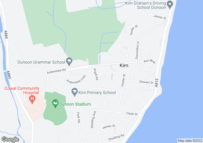 Map for Fairhaven, Kirn, Dunoon