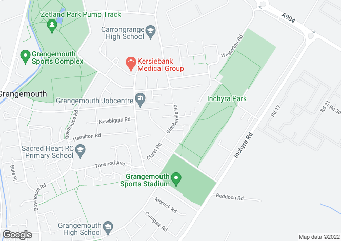 Map for Glenbervie Road, GRANGEMOUTH, Falkirk