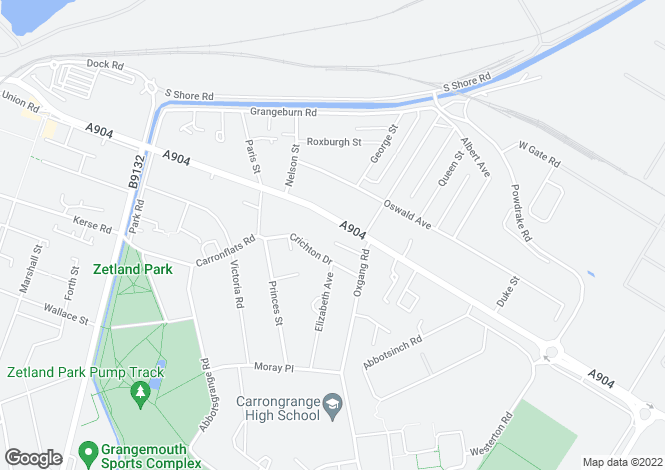 Map for 142 Bo'ness Road, Grangemouth, FK3 9BX