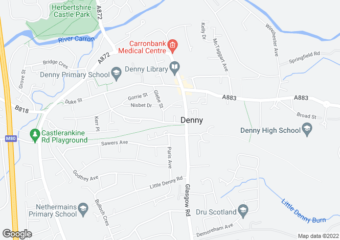 Map for Dryburgh Avenue, Denny FK6