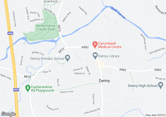 Map for 10 Broompark Gardens , Denny, FK6 6NU